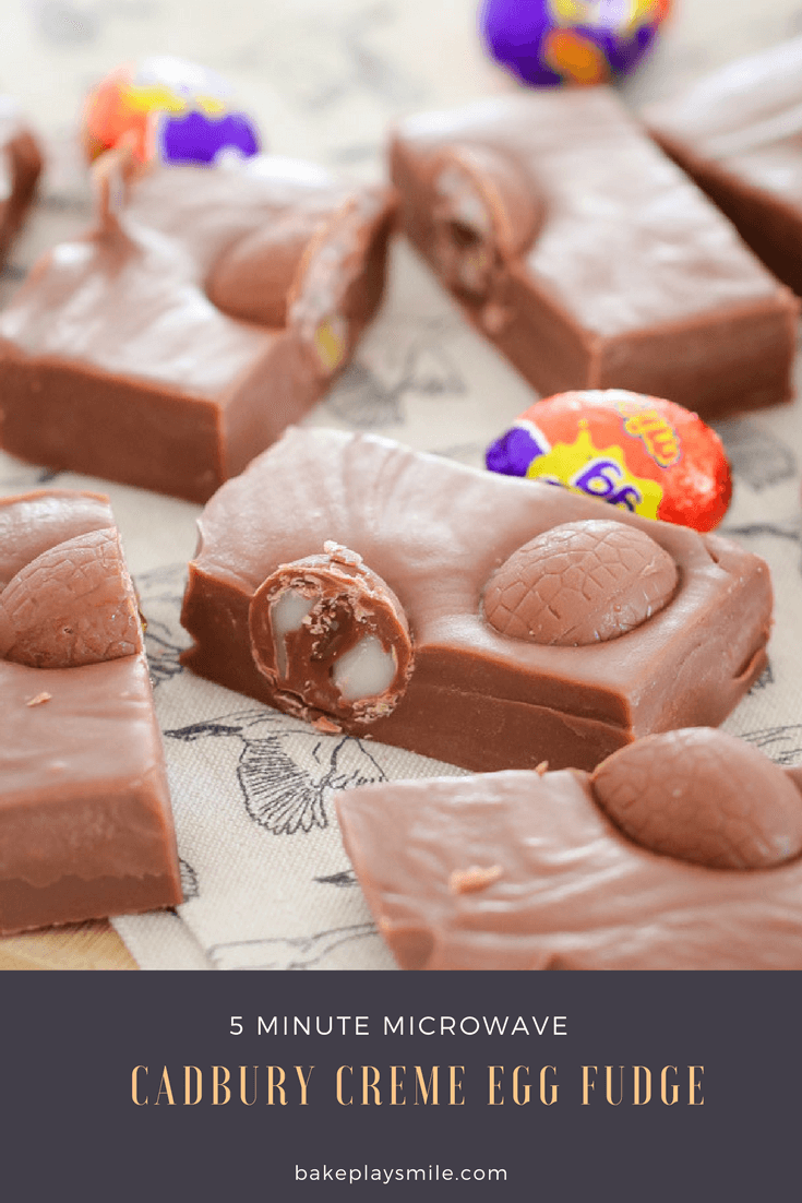 Pieces of microwave chocolate fudge with mini Cadbury creme eggs.