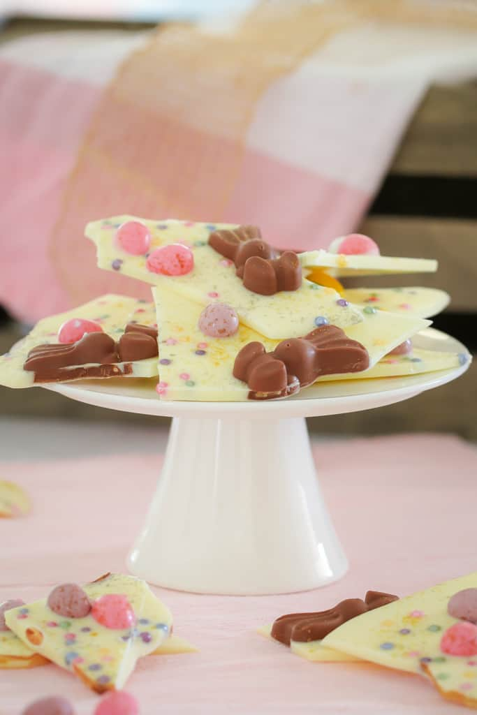 Shards of white chocolate bark with easter eggs and bunnies.