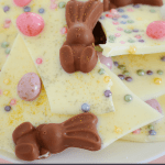 4 ingredient White Chocolate & Malteser Bunny Bark with mini Easter eggs... a quick and easy 'melt and decorate' recipe that takes just 5 minutes!
