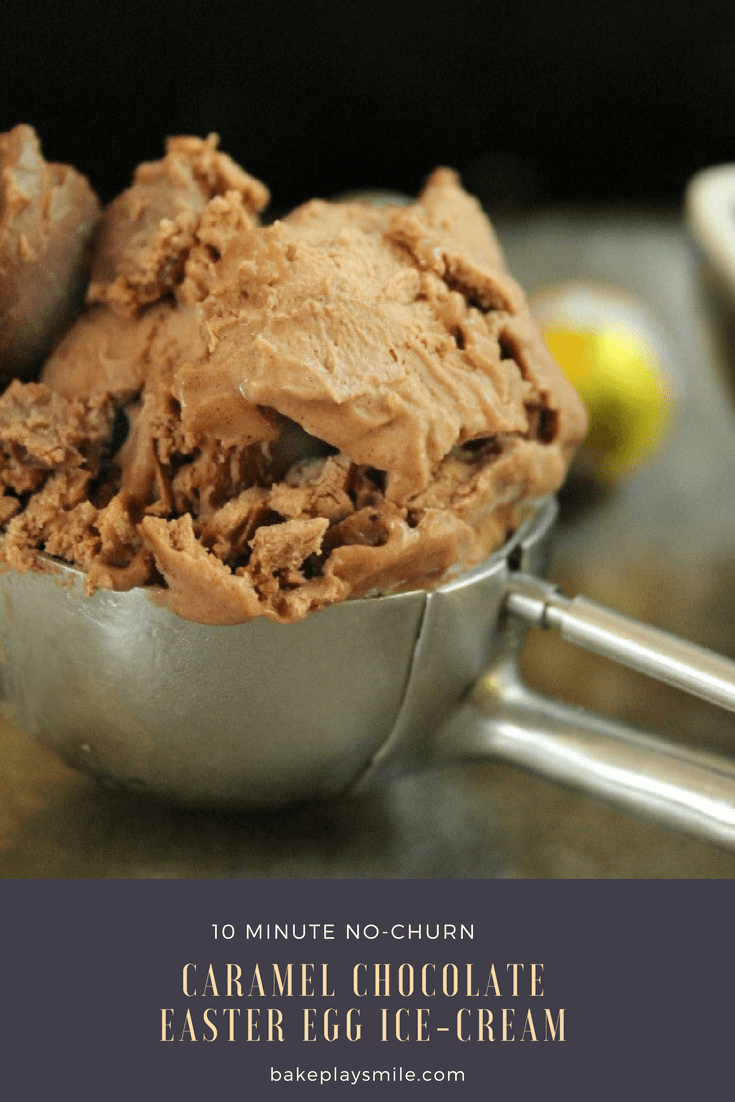 10 minute Caramel Chocolate Easter Egg Ice-Cream... a no-churn chocolate ice-cream scattered with chunks of caramel chocolate Easter eggs. YUM!!