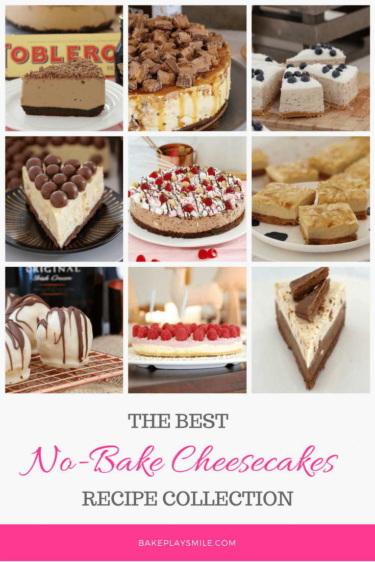 A collage of different types of no-bake cheesecake recipes
