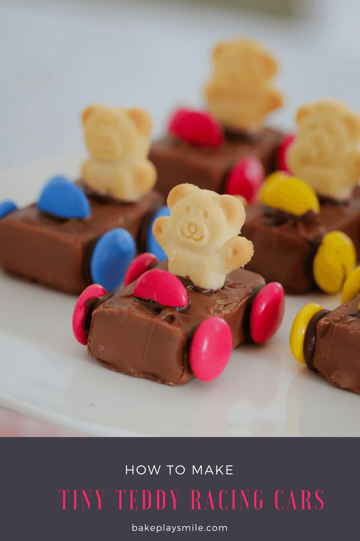 Rows of Tiny Teddy Racing Cars made using a Milky Way, smarties for wheels and a Tiny Teddy biscuit as the driver