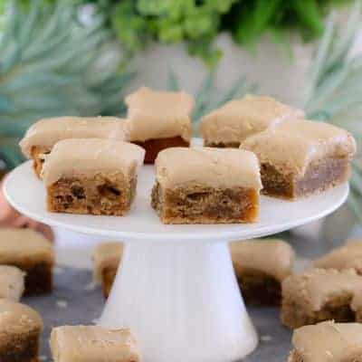 Easy Banana Blondies with Caramel Frosting