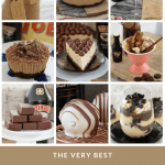 A collage of photos of slices, cheesecakes, desserts and more made using Baileys