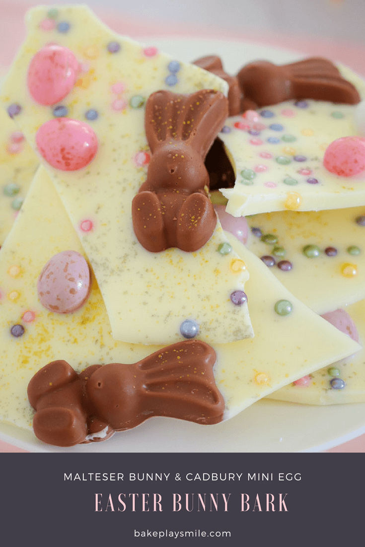 Pieces of Easter bark made from white chocolate and decorated with Easter bunnies and mini Easter eggs