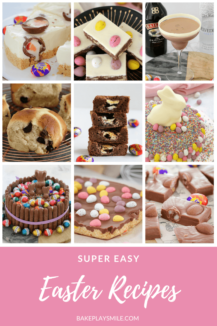 A collage of photos of Easter recipes