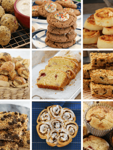 Nine photos with a selection of different baked snacks including cookies, muffins, slices and scrolls.