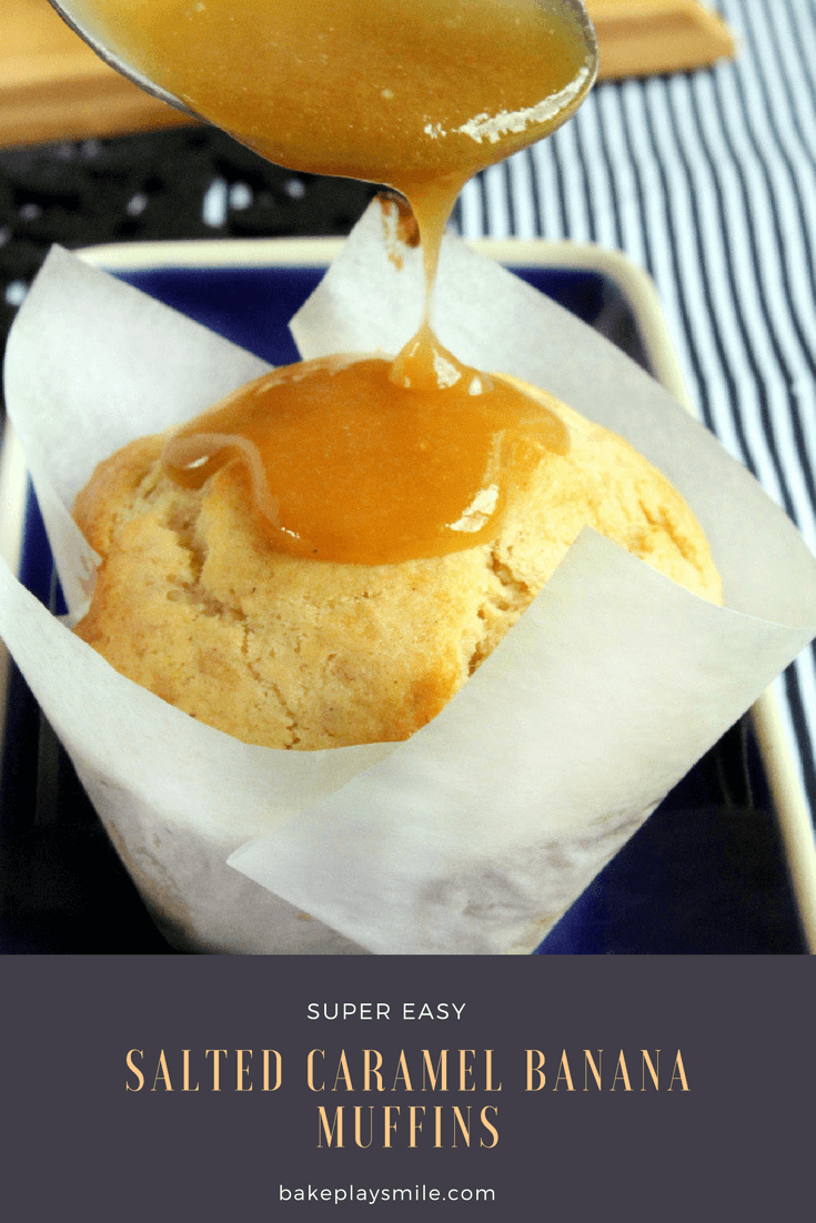 The most delicious Salted Caramel Banana Muffins... soft, fluffy muffins with a creamy salted caramel drizzle. This are an absolute must-make!