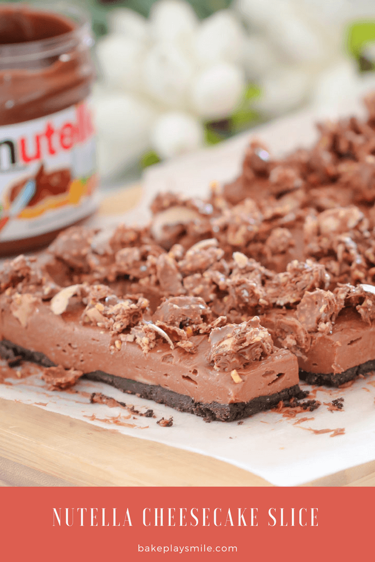 A close up of chocolate cheesecake slices in front of a jar of Nutella