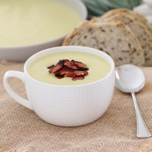 A creamy Potato & Leek Soup with crispy bacon that will be on the table in 30 minutes... the perfect winter soup recipe (both conventional and Thermomix recipe instructions are included below).
