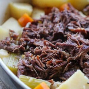 This Slow Cooker Roast Beef is the perfect winter dinner... one pot, plenty of vegetables and moist pull-apart roast beef that melts in your mouth.