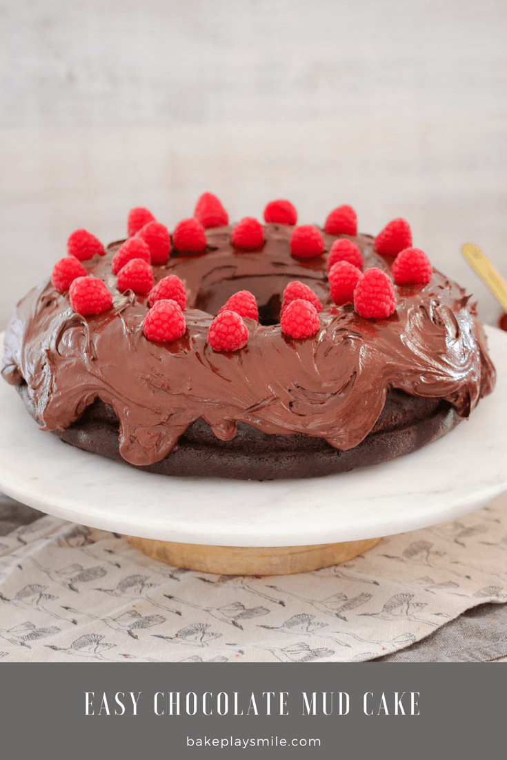 A chocolate cake decorated with chocolate frosting and fresh raspberries