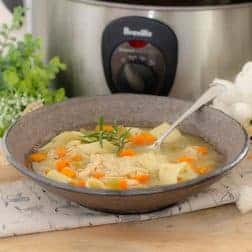 A bowl of chicken noodle soup in front of a slow cooker and herbs.