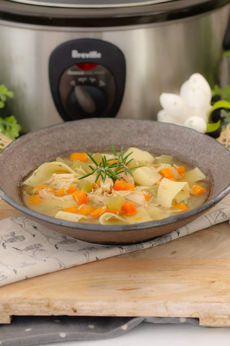 This classic Slow Cooker Chicken Noodle Soup is packed full of vegetables, chicken and noodles making it a hearty and delicious family meal. The ultimate healthy and nourishing winter soup!