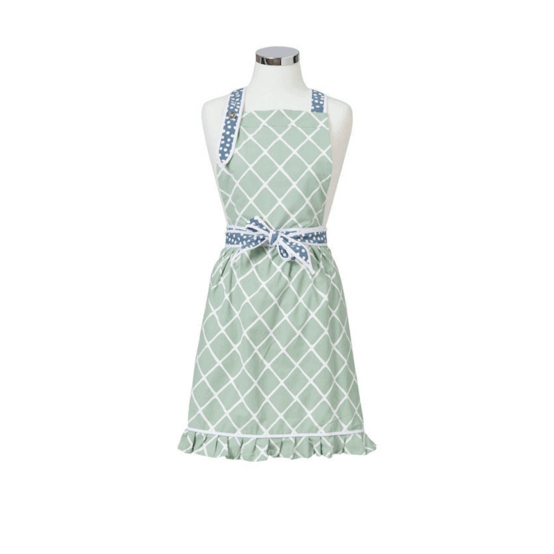 Our Anna Gare Elsie Diamonds Apron is the perfect kitchen accessory. A beautiful pale green apron with a flattering waist-tie & halter straps. RRP $39.99