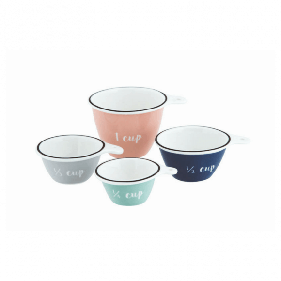 Our Anna Gare Elsie measuring cups come in a set of 4 stunning pastel colours and add a touch of femininity to your kitchen. RRP: $16.99