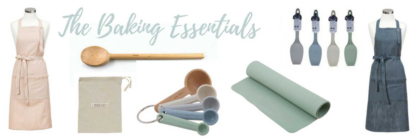 Every kitchen needs a few classic baking essentials... including silicone spatulas, measuring spoons, baking mats, linen aprons and wooden spoons.
