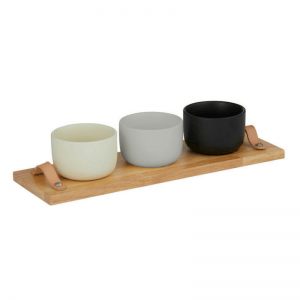 The Davis & Waddell Amhara 3 Piece Serving Set makes a stylish addition to any kitchen with it's wooden board, leather straps and 3 bowls in black, white and grey. Perfect for serving tapas and snacks! RRP $34.99