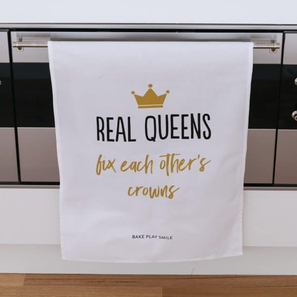 Real Queens Fix Each Others Crowns Tea Towel
