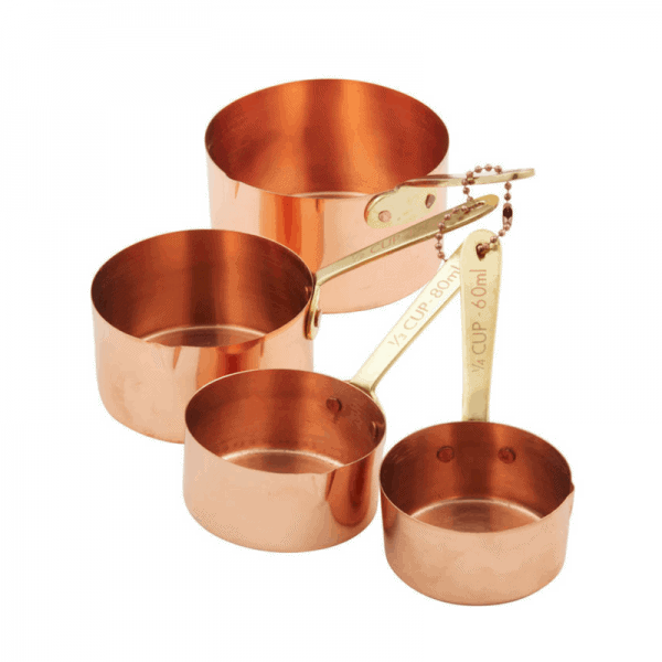 The on-trend Stephanie Alexander Copper Plated Measuring Cup Set with Brass Handles is the ultimate addition to your kitchen! RRP $39.99 Set 4 includes: 1 cup, 1/2 cup, 1/3 cup, 1/4 cup