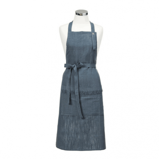 The Tara Dennis Linen Apron - Dark Blue is perfect for baking... featuring 2 pockets, an adjustable strap and flattering waist-tie. RRP $49.99