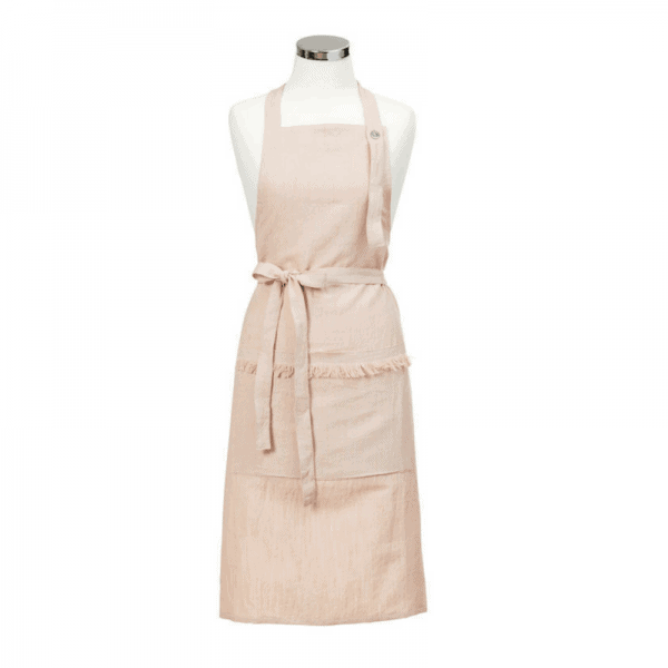 The Tara Dennis Linen Apron - Pink is perfect for baking... featuring 2 pockets, an adjustable strap and flattering waist-tie. RRP $49.99