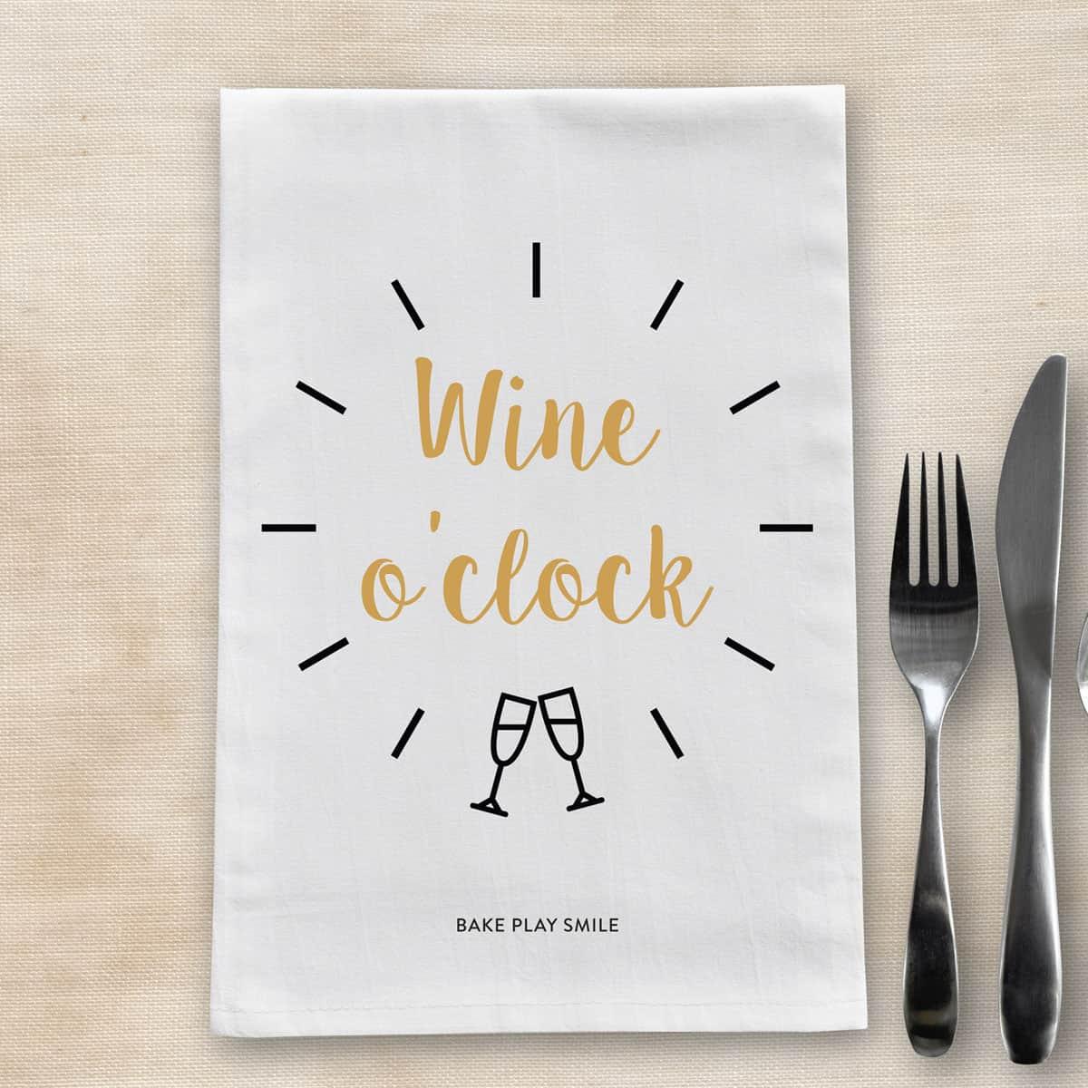 Wine O'Clock Tea Towel