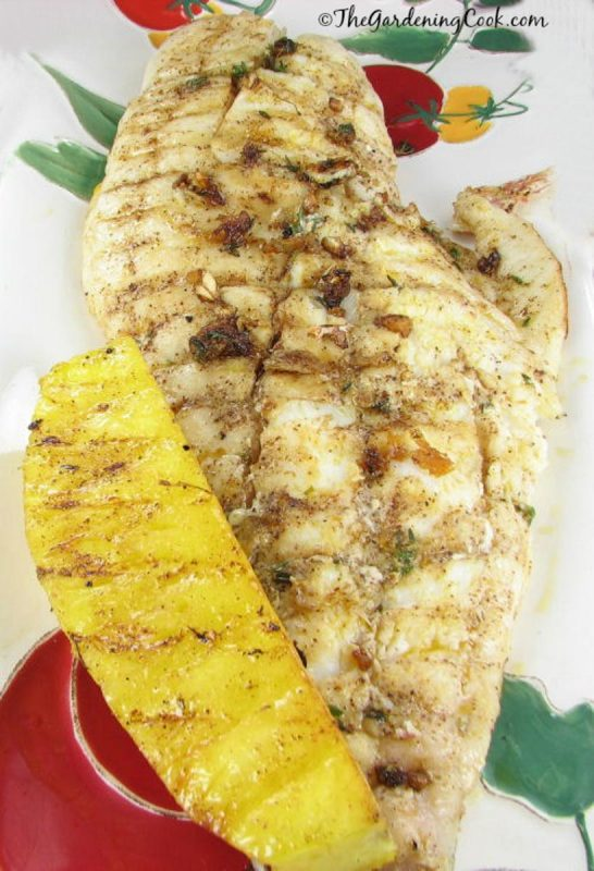 A piece of snapper fish with a slice of grilled pineapple on the side.