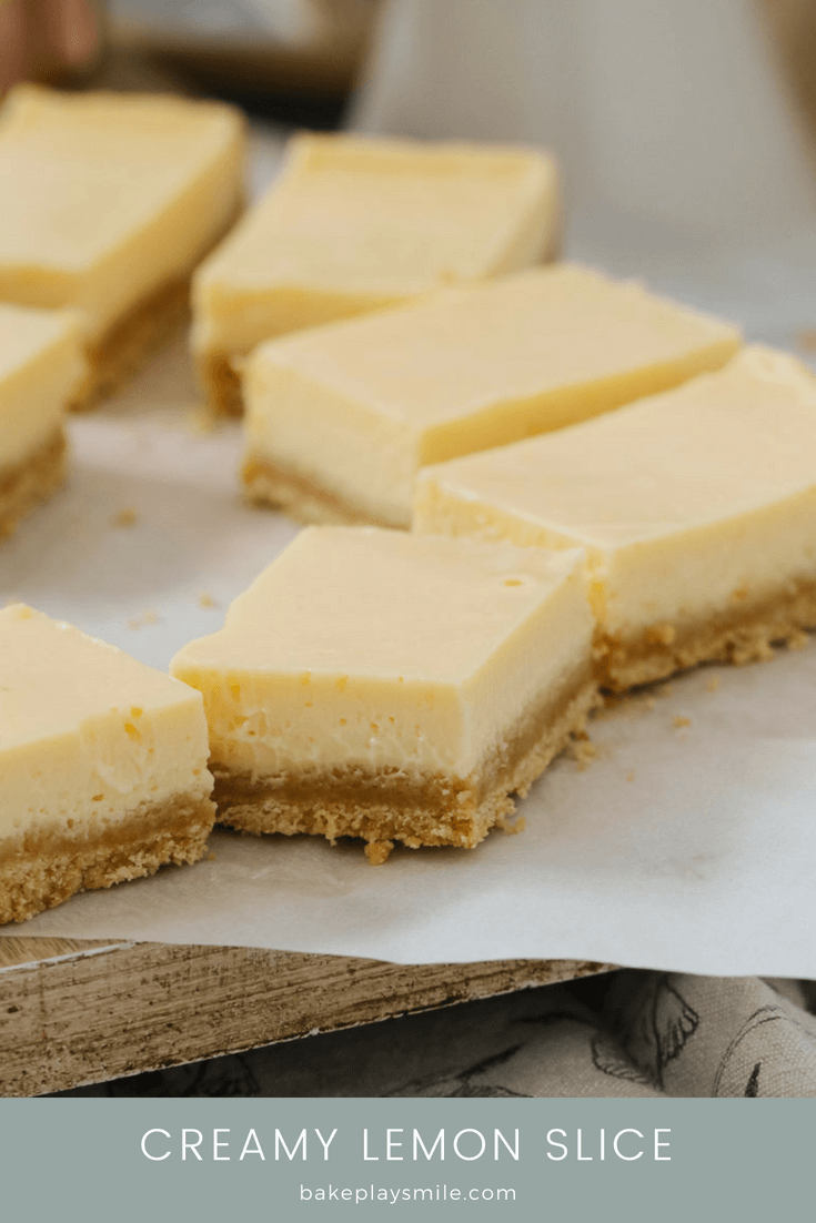 A creamy lemon slice with a crushed biscuit base.