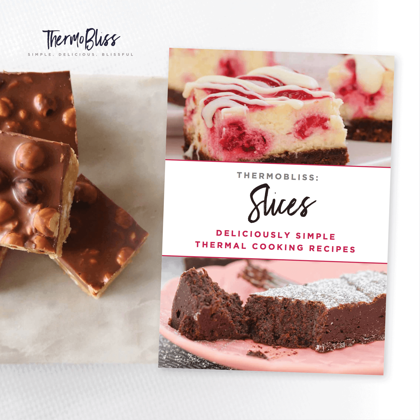 Pieces of a chocolate slice beside a Thermomix Slices recipe book
