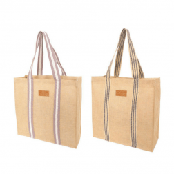 The Academy Jute Grocery Bag is available in two gorgeous designs (black stripe or grey stripe) and makes the perfect reusable grocery bag.