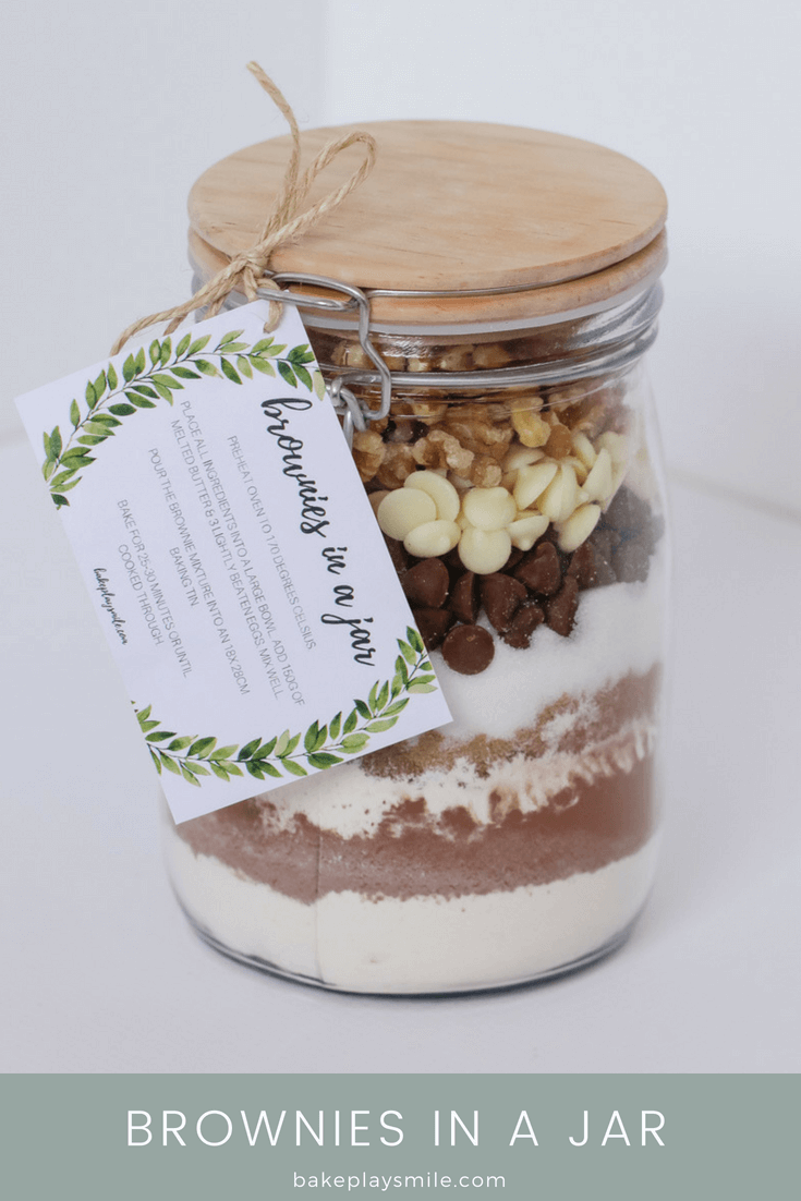 Brownies In A Jar Homemade Gift With Free Printable Gift Tag Bake Play Smile