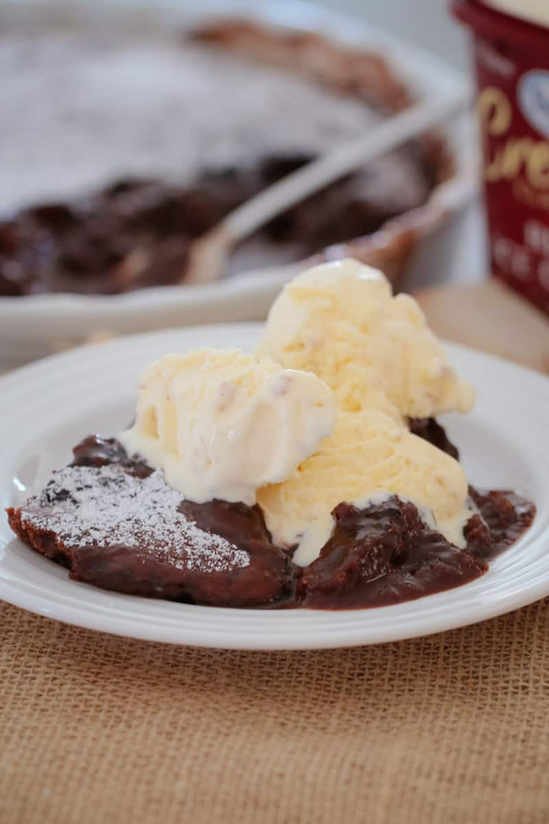 The perfect old fashioned chocolate self-saucing pudding... a rich chocolate cake smothered with a smooth chocolate sauce (printable conventional and Thermomix recipe cards included).