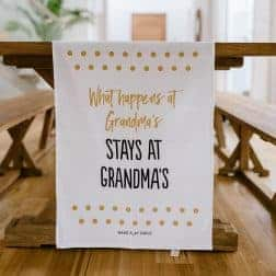 Tea towel gift for grandmas.