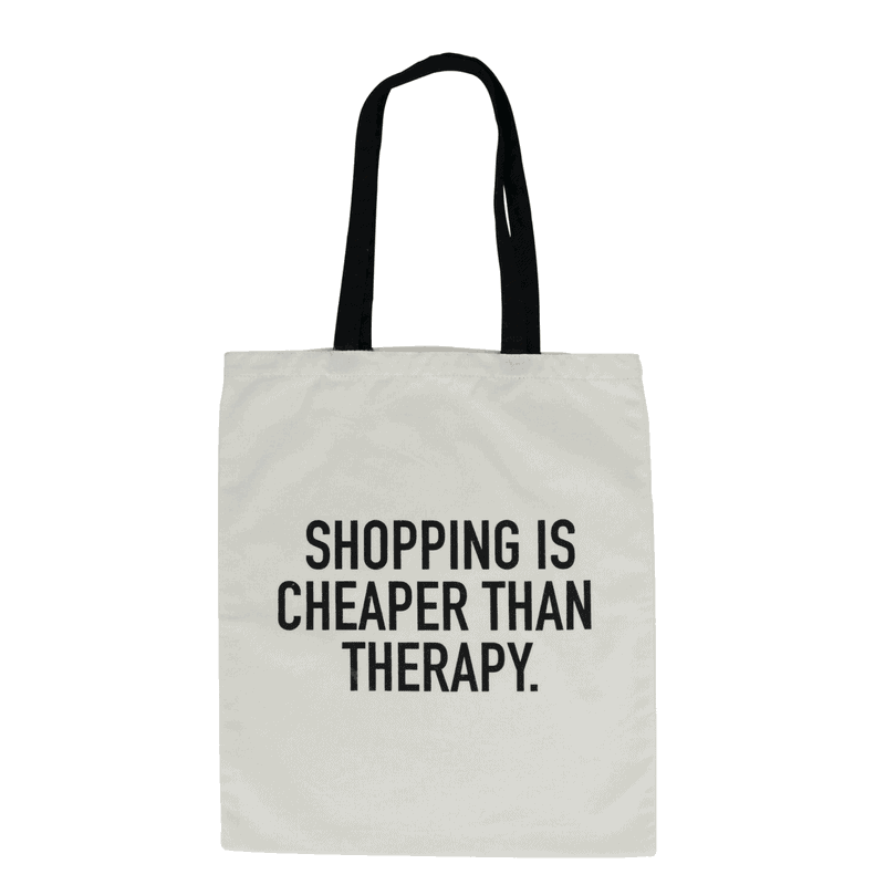 Our 'Shopping Is Cheaper Than Therapy' canvas tote bags are made from 100% natural cotton. The perfect eco-friendly carry-all! RRP $12.95