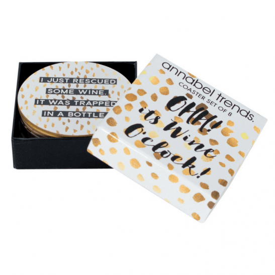 Our 'Wine O'Clock' black, white & gold coaster set features 8 gorgeous wine & champagne inspired quotes. Available in sets of 8 cork backed coasters. RRP: $15.95.