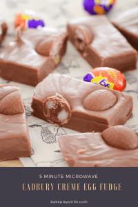 Cadbury creme egg fudge made in the microwave.
