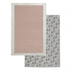 The In Flight Tea Towel Mushroom Pink set from Raine & Humble contains 2 X 100% cotton tea towels, each with a hanging loop. Each tea towel measures 45cm X 70cm. One tea towel is printed in a natural colour with a gorgeous swan pattern, while the other tea towel is mushroom pink with a natural dot design. RRP: $19.95