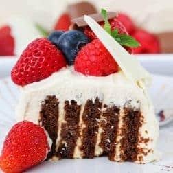 A slice of a chocolate log layered with cream, covered with cream, berries and a white chocolate shard