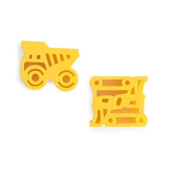 Our Construction Sandwich Cutters 2 pack includes a bulldozer and a dump truck... great for making fun sandwiches that little diggers will quickly demolish!