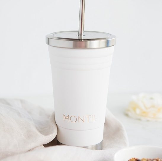 The classic stainless steel White Smoothie Cup by MontiiCo is pretty and practical! Perfect for smoothies, juices, iced coffee and more!
