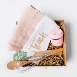 Introducing our 'Teacher Hamper'... a unique gift for that very special teacher! A gorgeous box filled with a linen apron, Stephanie Alexander designed kitchen tool set, a stylish eco-cup and our designer 'Teach. Love. Inspire' tea towel. Available in pink or grey.