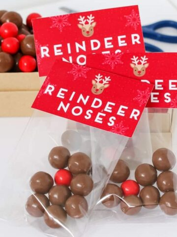 Reindeer Noses make the perfect homemade Christmas gift for friends and family! Simply add our super cute FREE printable labels to your gift bags and fill them with Maltesers and a Jaffa!