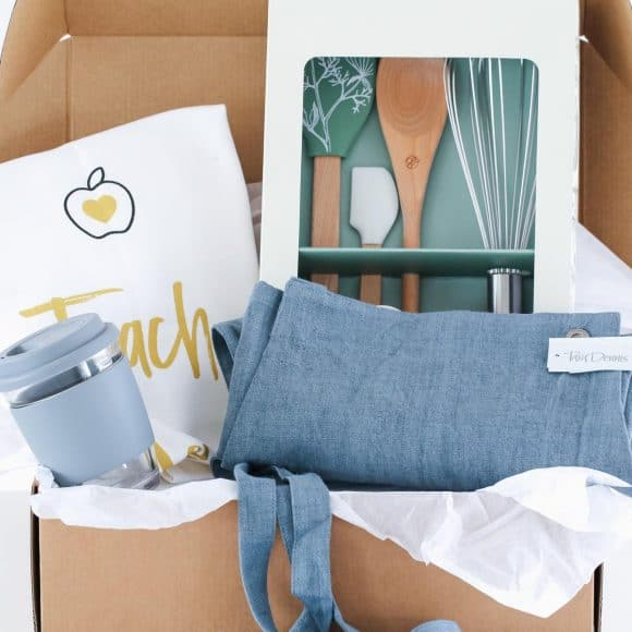 Introducing our 'Teacher Hamper'... a unique gift for that very special teacher! A gorgeous box filled with a linen apron, Stephanie Alexander designed kitchen tool set, a stylish eco-cup and our designer 'Teach. Love. Inspire' tea towel.