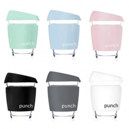 Our 355ml Punch Reusable Coffee Cups come in two stylish matte colours - grey and pink. Grabbing a coffee on the go has never looked so good!!