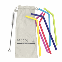 The Silicone Straw Set from MontiiCo includes 6 colourful silicone straws (26cm length) plus an easy cleaning brush... all in a pretty & reusable linen bag.