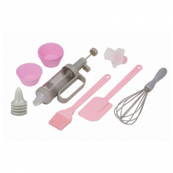 Pink and grey cupcake decorating items.