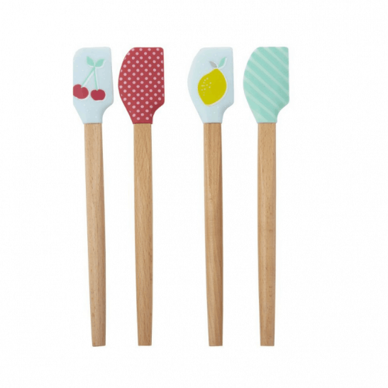 4 kids mini spatulas in fruit designs.