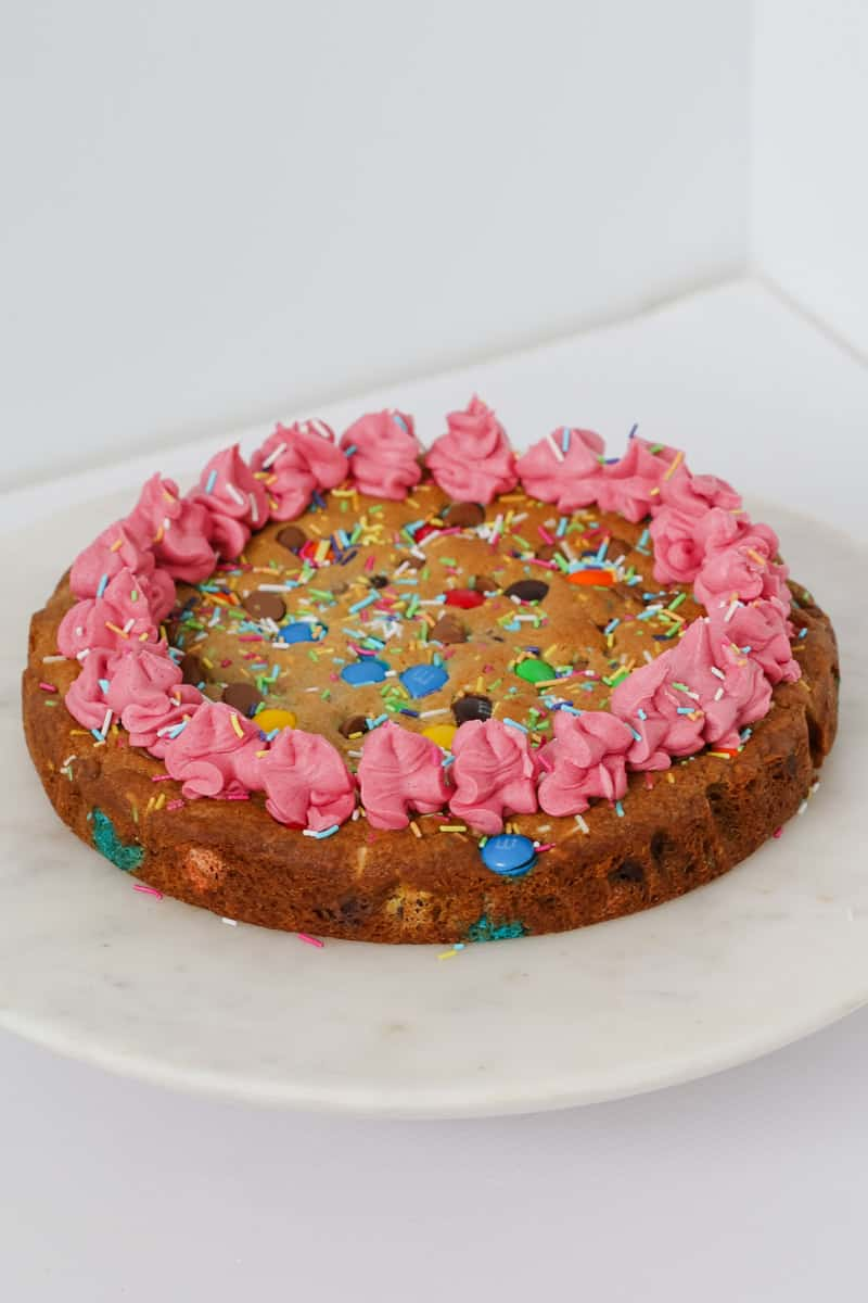 Bright and colourful cake made out of cookie dough.