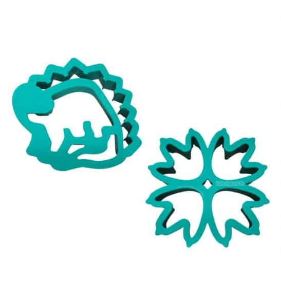Dinosaur and dinosaur paw shaped sandwich cutters.